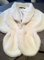 Beautiful Ivory Plush Faux Fur Cape