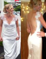 Low Back Wedding Dress with Chantilly Lace by Leonard Derecourt