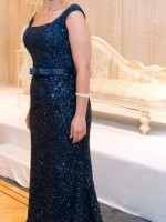 Midnight Blue Sequin Gown with Train - Custom Made by Norma Bridal Couture