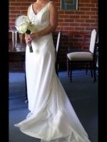 Beautiful Ivory Gerogette beaded bodice dress by Peter Trends