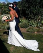 Beautiful strapless wedding dress custom made