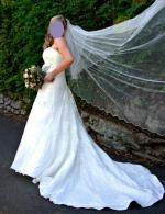 Elegant lace & satin Maggie Sottero gown