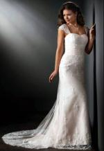 Beautiful Capped Sleeve Wedding Gown by Mancini