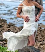 Stunning Strapless with off-shoulder crystal strap Satin Wedding Dress  Maggie Sottero