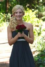 Dark Blue Strapless Bridesmaid Dress with Beaded Band